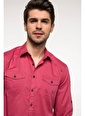 DeFacto Slim Fit Katlanabilir Kol Detaylı Gömlek Bordo